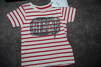 "M&S REd Striped ""Hiya"" T Shirt Age 6-9 Months 99% Cotton BNWT"