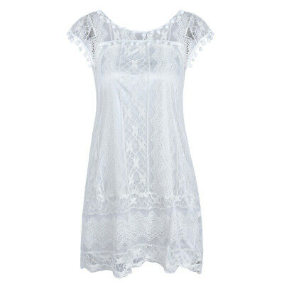 Women Sleeveless Round Neck Lace Tops Dress Plus Size Party Beach Casual Outfit