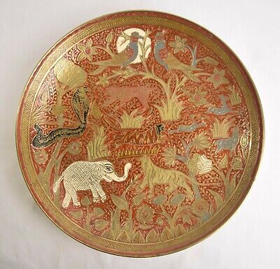 Vintage Middle Eastern Indian Brass Enameled Large Decorative Plate Wall Hang