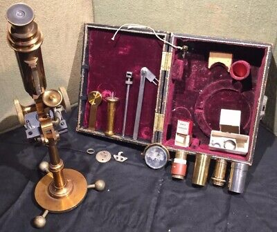 E.H. Griffith Club Microscope W Accessories And Leather Case