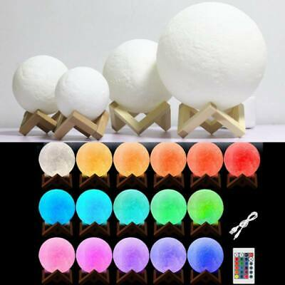 LED Night 3D Printing Moon Lamp USB Lunar Light Moonlight Touch Color Changing