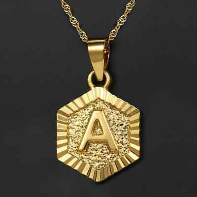 Gold Filled Initial Necklace Letter A-Z Pendant Gold Necklace Women Men