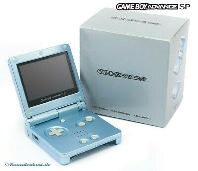 GameBoy Advance console GBA SP #Arctic Blue + power supply boxed  MINT CONDITION
