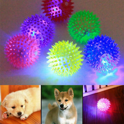 Pet Dog LED Light Up Flashing Play Toy Chasing Bounce Rubber Spiky Ball Hot Play