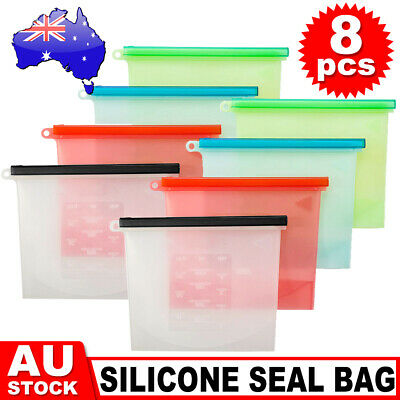 8X Reusable Food Preservation Bag Silicone Airtight Seal Food Storage Container