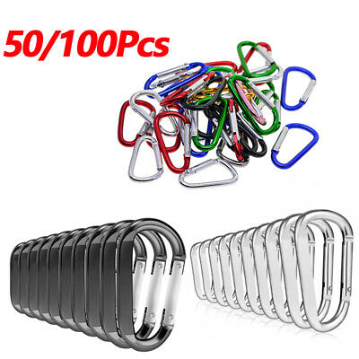 50/100Pcs Silver / Black Aluminum Carabiner Spring Belt Clip Key Chain Set Tools