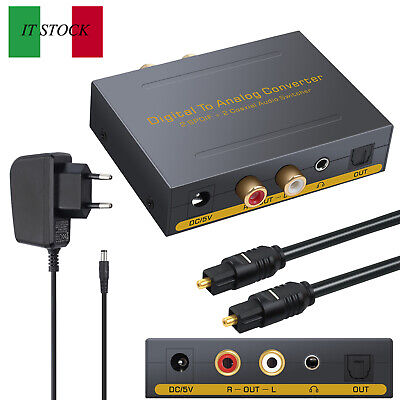 Digitale SPDIF Toslink a analogico aduio CONVERTITORE DAC 2 ottico coassiale IT