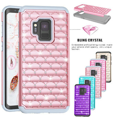 For Samsung Galaxy S9+ Plus /S10+ Bling Glitter Stand Diamond Slim Case Cover