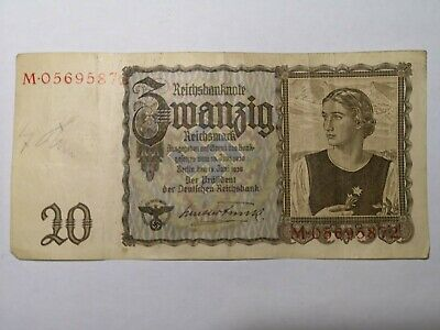 20 Reichsmark Banknote Signed attributed to Adolf Hitler