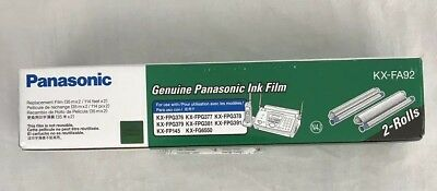 Genuine Panasonic Fax Ink Film KX-FA92 2 Replacement Rolls New in Box Unopened