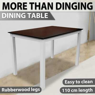 vidaXL Wooden Dining Table 110cm Kitchen Furniture Rectangular Brown and White