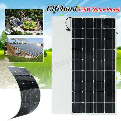 Elfeland 12V 120W Mono Semi Flexible Solar Panel Battery Charger With 1.5m Cable