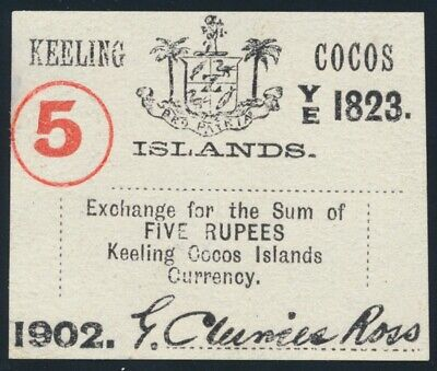 Keeling Cocos Islands: 1902 5 Rupees Unissued. Pick S128 UNC Cat $467 SCARCE!