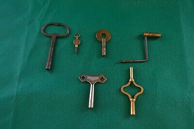 Six Antique/Vintage Clock Watch Wind Up Keys