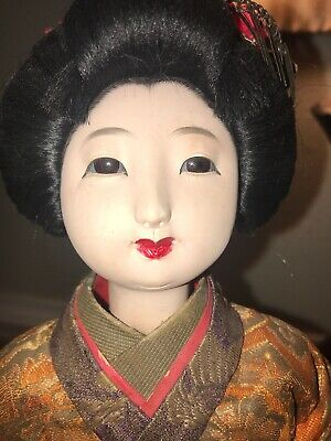 Antique /Vintage Japanese Bisque Doll With Glass Eyes,Traditional Geisha Costume
