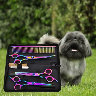 7'' Pet Hair Scissors Set Dog Grooming Cutting Thinning Curved Shears Colorful