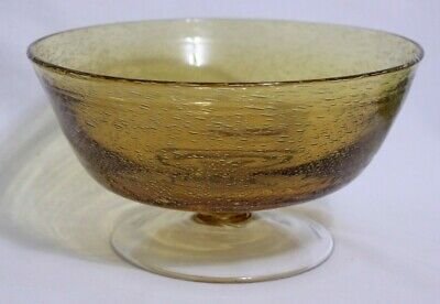 Vintage Hand Blown Amber Glass Pedestal Bowl Bubbles Footed Fruit Candy