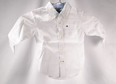 Baby Boy's Tommy HilfigerLong Sleeve Solid Woven Button Up Shirt, White