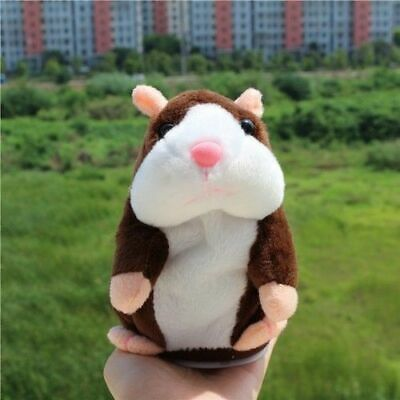 Funny Talking Hamster Electronic Plush Toy Mouse Pet Sound Kid Gift Dark Brown