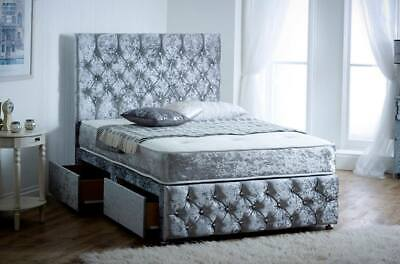 CHESTERFIELD CRUSHED VELVET DIVAN BED ibex plus extra  - MADE IN UK - ALL SIZES