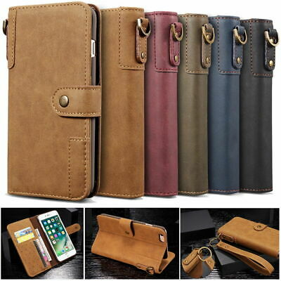 Retro Genuine Real Cow Leather Flip Wallet Case Cover Stand for iPhone & Samsung