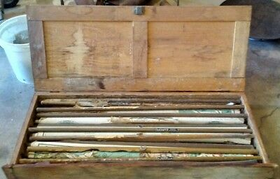 7 Vintage Early 1900 Pull Down School Maps with Original Oak Case,