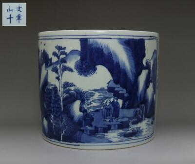 Chinese Old Blue And White Porcelain Brush Pot With Wenzhangshandou Marked (596)