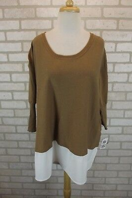 086a2de91c36f NEW  69 Style   Co Womens Shirt Sweater Top Sz 1X Plus NWT Knit Dolman Tan