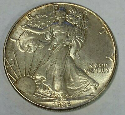 1986 1 oz Silver American Eagle BU Coin $1 Dollar LOW Mint First Year