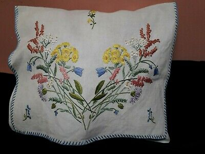 vintage 1930s hand embroidered Irish linen nightdress case cushion cover floral