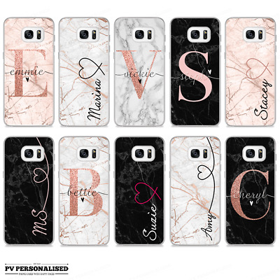Initials Name Phone Case Personalised Marble Hard Cover Samsung Galaxy S8 S9 S10