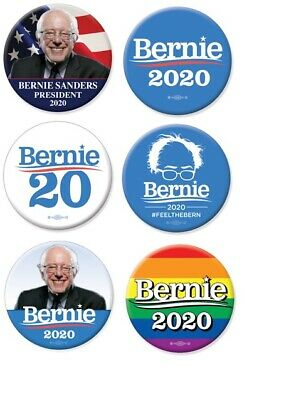 Set of 6 Bernie Sanders For President 2020 2.25 Inch Buttons Lot Pinbacks Pins