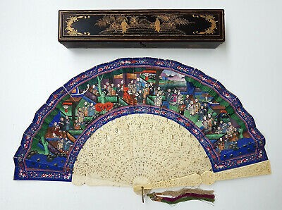 Antique Chinese Mandarin Filigree Carved Hand Painted 100 Faces Fan W Box