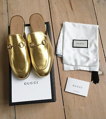 b52373d7a57 BNWT Gucci Princetown Slippers Loafers Gold Leather Size EU 38 UK 5 US 7.5