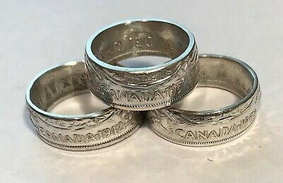 Canada Silver Coin Rings Handcrafted Canadian Half Dollar Size: 7 To 14.5 #222