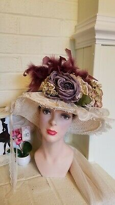 dae0bfcda142c Elsie Massey Victorian Edwardian Baroque Lace Ivory Purple Theater Costume  Hat