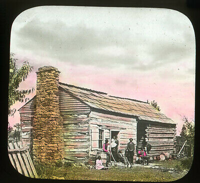 Antique Glass Slide Black Americana Large Family Old Wooden Cottage House
