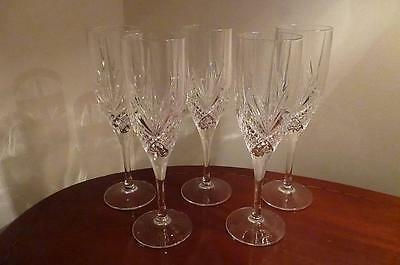 Beautiful Set of 5 Crystal Champagne Glasses - All in Perfect condition