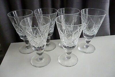 Complete set of 6 x Vintage Cut Crystal Sherry/Liquer Glasses 10.5 cm tall- VGC