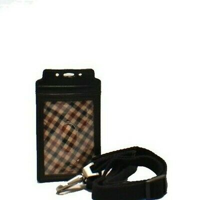 Genuine Leather Card Case w/ Adjustable Lanyard + 5 Card Slots/ID Window & More!