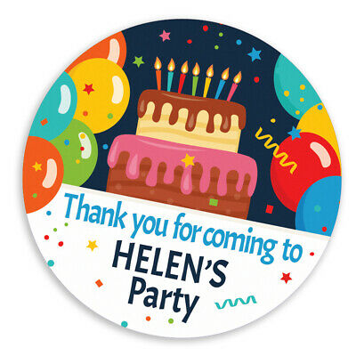 Personalised birthday party stickers, different sizes, CELEBRATE