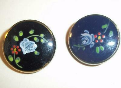 Lot of 2 Black Glass Hand Painted Vintage Buttons