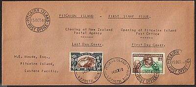 PITCAIRN 1940 cover Last day NZ PO and first day of Pitcairn stamps........53987