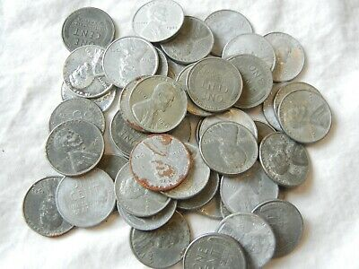 lot roll 1943 steel lincoln wheat cent penny one cent war coins (50)