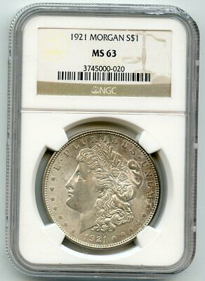 1921 Morgan Silver Dollar (MS 63) NGC.  Read!!