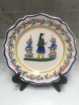 """Antique Early Quimper 12""""  Boy Platter Or  Charger"""