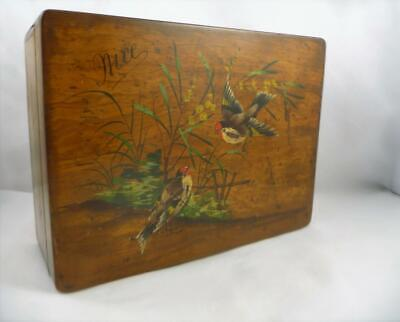 Antique French Olive Wood Painted Bird Padded Jewellery / Sewing Box c1900