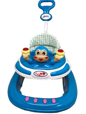 Blue Baby Walker First Step Push Along Bouncer Activity Music Ride On Car Melody