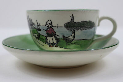 Antique G S ZELL Bowl Dutch Girl and chickens Cup & Saucer Germany