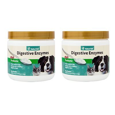 NaturVet DIGESTIVE ENZYMES & PROBIOTICS Healthy Digestion Dogs & Cats 8oz 2 PACK